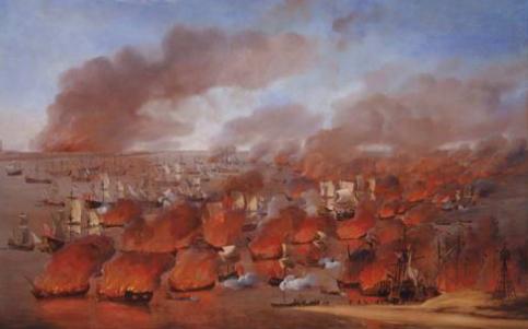 Schilderij van Willem van de Velde de Oude over de ramp op het Vlie in 1666, waarbij de hele vloot op de rede in brand werd gestoken