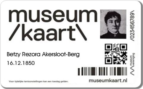 Museumkaart met pasfoto van Betzy Akersloot-Berg