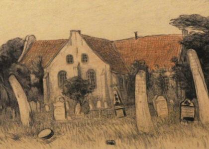 tekening door J. Graadt van Roggen van de begraafplaats met walviskaken op Vlieland