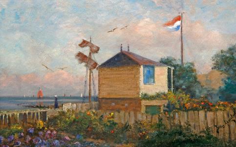 Schilderij van atelierwoning Betzy Akersloot met uitzicht over de Waddenzee