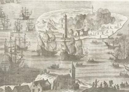 tekening van de brand op terschelling uit het boek d'Engelsche furie