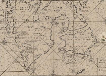 Gedeelte oude kaart van Spitsbergen met de 'Ryk Ises Eylanden' vernoemd naar Rijk Corneliszoon IJs