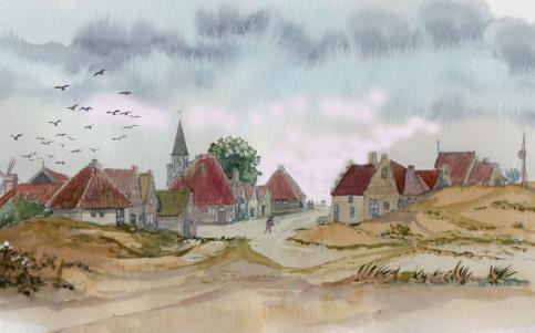 Aquarel van frans Schot van aanzicht dorp West-Vlieland