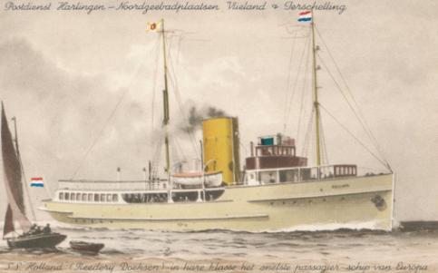 Prentbriefkaart met tekening van SS Holland