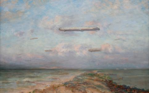 schilderij van Betzy Akersloot met daarop langs Vlieland vliegende zeppelins op weg naar Londen tijden WO I